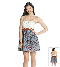 City Triangles® Juniors' Strapless Printed Chambry Dress