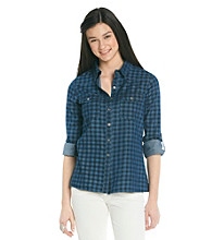 Belle du Jour Juniors' Buffalo Check Denim Shirt