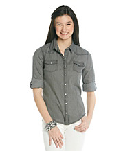 w.f. Juniors' Washed Gray Denim Equipment Shirt