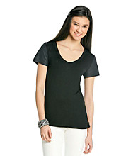 Lily White Juniors' Faux Leather Sleeve Tee