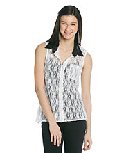 Belle du Jour Juniors' Allover Lace Shirt With PU Collar