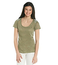 Ten Sixty Sherman Juniors' Textured Tee with Rhinestone Applique