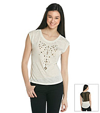 Ten Sixty Sherman Juniors' Studded Chiffon Back Tee