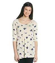 Belle du Jour Juniors' Bird Print Babydoll Tunic