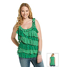 Belle du Jour Juniors' Plus Size Polka Dot Ruffle Tank