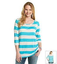 Belle du Jour Juniors' Plus Size Striped Crochet Back Tee