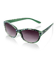 Icon Blue Green Cheetah Cat Eye Sunglasses