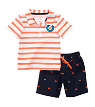 Carter's® Baby Boys' Orange 2-pc. Srtiped Crab Schiffli Print Shorts Set