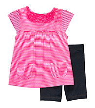 Carter's® Baby Girls' Pink 2-pc. Striped Denim Shorts Set