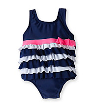 Carter's® Baby Girls' Navy/White Tiered Swimsuit