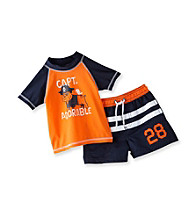 Carter's® Baby Boys' Orange/Navy 2-pc. Bulldog Rash Guard Swim Set