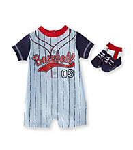 Vitamins Baby® Baby Boys' Blue Baseball Romper with Socks
