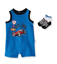 Vitamins Baby® Baby Boys' Blue Racing Team Romper with Socks