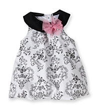 Vitamins Baby® Baby Girls' White/Black Toile Print Bubble Romper