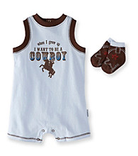 Vitamins Baby® Baby Boys' Blue Cowboy Romper with Socks