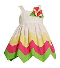Bonnie Jean® Girls' 2T-4T White Multi Flower Hanky Hem Dress