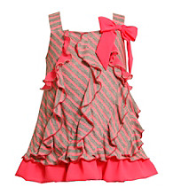 Bonnie Jean® Girls' 2T-4T Neon Pink/Grey Striped Jersey Dress