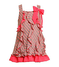 Bonnie Jean® Girls' 4-6X Neon Pink/Grey Striped Jersey Dress