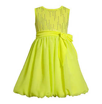 Bubble Dress on Product  Bonnie Jean   Girls  4 6x Neon Yellow Chiffon Bubble Dress