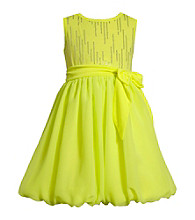 Bonnie Jean® Girls' 4-6X Neon Yellow Chiffon Bubble Dress