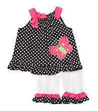 Rare Editions® Girls' 2T-4T Black/White Polka-Dot Butterfly Set