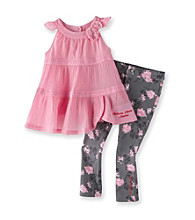 Calvin Klein Girls' 2T-6X Pink/Grey 2-pc. Floral Leggings Set