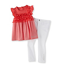Calvin Klein Girls' 2T-6X Coral/White Striped 2-pc. Set