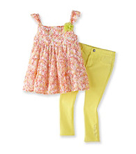 Calvin Klein Girls' 2T-6X Yellow Multi Floral Top with Jeggings Set