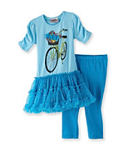 Beautees Girls' 4-6X Miami Blue Bicycle Leggings Set