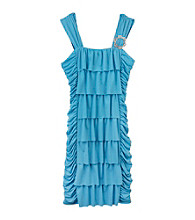 Amy Byer Girls' 7-16 Turquoise Ruffle Front Body Con Dress