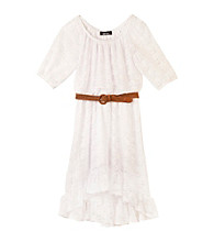 Amy Byer Girls' 7-16 White Lace Belted High Low Dress