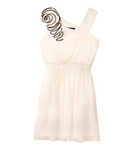 Amy Byer Girls' 7-16 Black/White One Shoulder Flower Dress