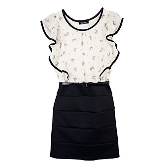 Body  Dress on Product  Amy Byer Girls  7 16 Black White Bow Body Con Dress