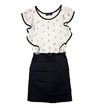 Amy Byer Girls' 7-16 Black/White Bow Body Con Dress
