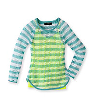 Jessica Simpson Girls' 7-16 Green Hope Mesh Sweater with Neon Tank