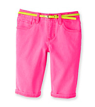 Squeeze® Girls' 7-16 Neon Pink Bermudas with Neon Yellow Belt