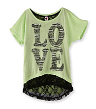 Beautees Girls' 7-16 Lime High-Low Love Tee with Lace Back