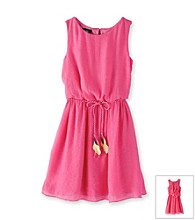 Amy Byer Girls' 7-16 Pink Ruffle Dress with Feather Belt