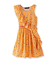 Jessica Simpson Girls' 7-16 Orange Floral Print Ruffle Front Dress