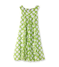 Speechless® Girls' 7-16 Lime/White Polka-Dot Ruffle Dress