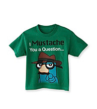 Disney® Boys' 4-7 Green Short Sleeve Phineas Mustache Tee