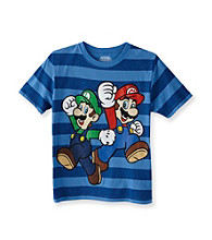 Super Mario Bros. Boys' 4-20 Blue Short Sleeve Striped Tee