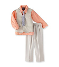 Izod® Boys' 2T-7 Orange/Khaki 3-pc. Vest Set with Tie