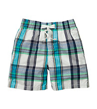 OshKosh B'Gosh® Boys' 2T-7 Navy Blue/White Plaid Pull-On Shorts