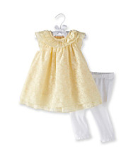 Cuddle Bear® Baby Girls' Yellow Silk Burnout Leggings Set
