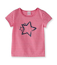 Little Miss Attitude Girls' 2T-6X Pink/White Striped Glitter Graphic Tee