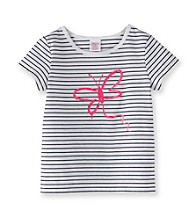 Little Miss Attitude Girls' 2T-6X White/Navy Striped Glitter Graphic Tee