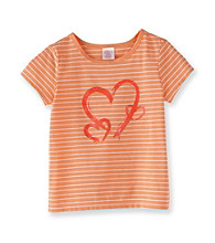 Little Miss Attitude Girls' 2T-6X Orange/White Striped Glitter Graphic Tee