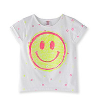 Little Miss Attitude Girls' 2T-6X White Neon Smiley Face Tee