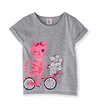 Little Miss Attitude Girls' 2T-6X Heather Grey Bicycling Kitty Tee